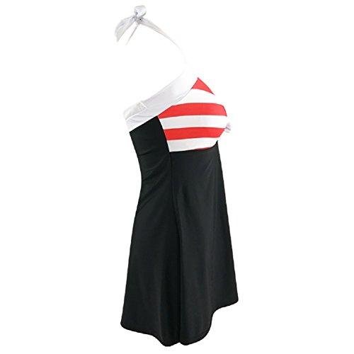 Vilamon Nuevas Tallas Grandes de Europa y América Bikini de Rayas de Baño de Alta Gama rojo y negro