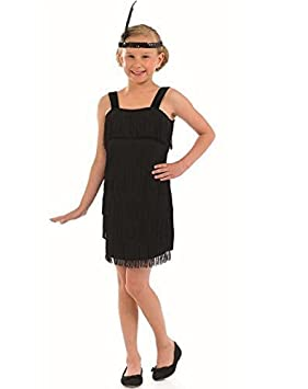 fe8be9e53 Child's Girls Black or Red Flapper 1920s Great Gatsby Fringed Fancy Dress  Costume Outfit 4-