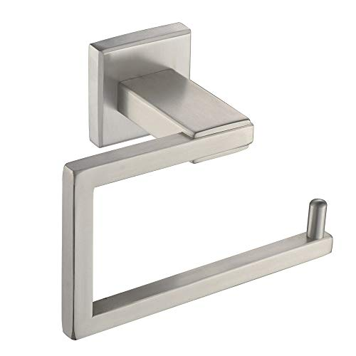 Toilet Paper Holder, Aomasi SUS304 Stainless Steel Modern Square Bath Tissue Hanger, Half Open TP Roll Hand Towel Bar, Space Saver for Lavatory Kitchen Home Remodeling, Brushed Nickel