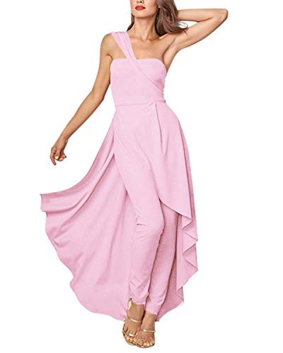 Dress Jumpsuit - GIKING Women Party Maxi Dress Rompers, Sexy Halter Elegant Skirt Pants Ruffles Jumpsuits Pink S