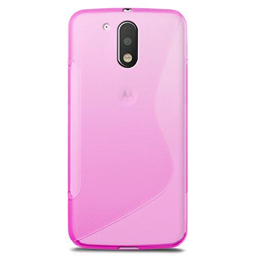 Funda Motorola Moto G4/G4 Plus, SLEO Slim Fit TPU Carcasa de Parachoques Case Traslúcido Suave con Absorción de Impactos y Resistente a los Arañazos para Motorola Moto G4/G4 Plus - Azul Rosa