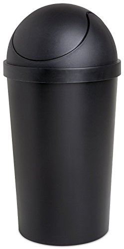 - Sterilite 10839006 12 Quart Black Round Swing-Top Wastebasket