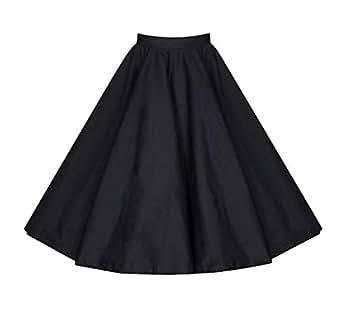 Killreal Women's Casual Knee Length High Waisted Flare Midi A Line Full Circle Formal Skirt Black Small