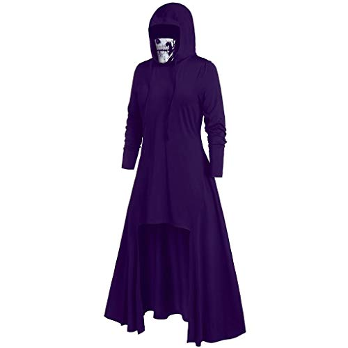aihihe Womens Halloween Costumes Plus Size Dresses Long Sleeve Renaissance Gothic Party Prom Hooded Cosplay Dresses Purple