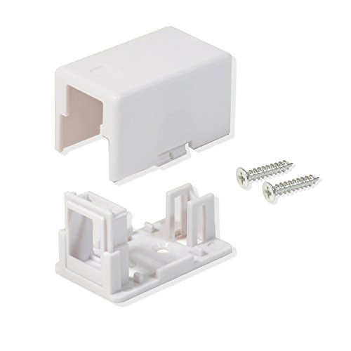 20 PACK CAT5E/CAT6 1 PORT KEYSTONE JACK SURFACE MOUNT BOX WHITE W/MOUNTING SCREWS & DOUBLE SIDED TAPE (Jack Mount Surface Cat6)