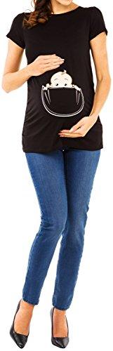 Happy Mama. Para Mujer Camiseta premamá T-Shirt estampado bebé en bolsillo. 501p Negro