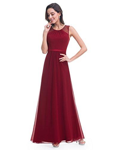 Borgoña Largo Mujeres 08742 Las de sin Elegante Vestido Ever Fiesta Pretty Mangas de B7v4wqUn
