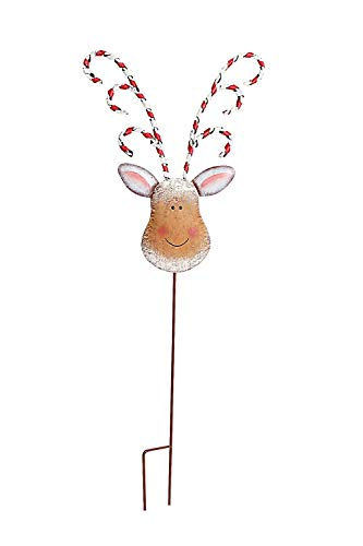 Rainbow Handcrafts Hand Painted Metal Reindeer Yard Stake Christmas Decoration 32''Tall Christmas Ornament Yard Decoration Garden Stake