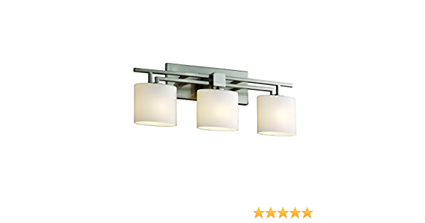 Justice Design Group Fusion Collection Aero Bath Bar Oval Brushed Nickel Finish With Opal Glass Vanity Lighting Fixtures Amazon Com