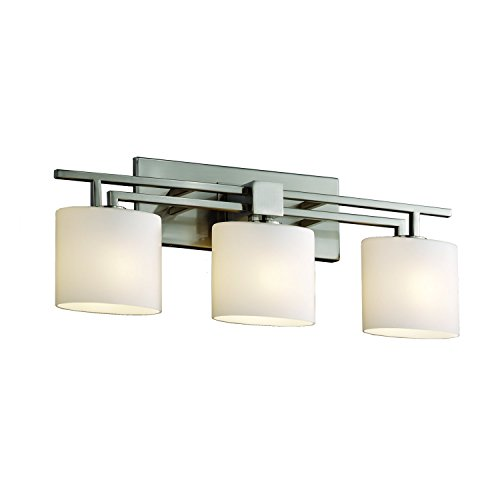 Justice Design Group - Fusion Collection - Aero Bath Bar - Oval - Brushed Nickel Finish with Opal - Aero Bath