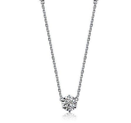 Gowe Forme ronde véritable 0,30CT H/SI Diamant Certifié Collier en or blanc 18carats (Au750)