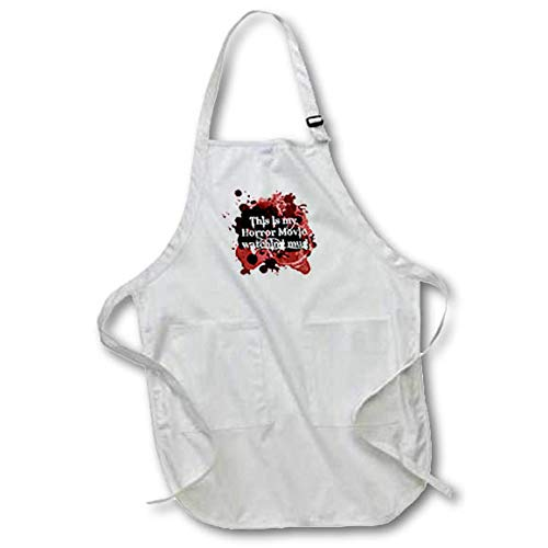 3dRose InspirationzStore - Occasions - This is My Horror Movie Watching Mug - for Scary Halloween Film Fans - Full Length Apron with Pockets 22w x 30l (apr_317314_1) ()