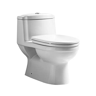 Whitehaus WHMFL3222-EB Whmfl3222-Ebeco-Friendly Onepiece Traditional Toilet with A Siphonic Action Dual Flush System An Elongated Bowl, White