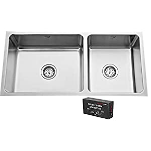 SILVER LINE Low Radius Double Bowl Stainless Steel 304 Grade Kitchen Sink (37″ x 18″ x 8″)