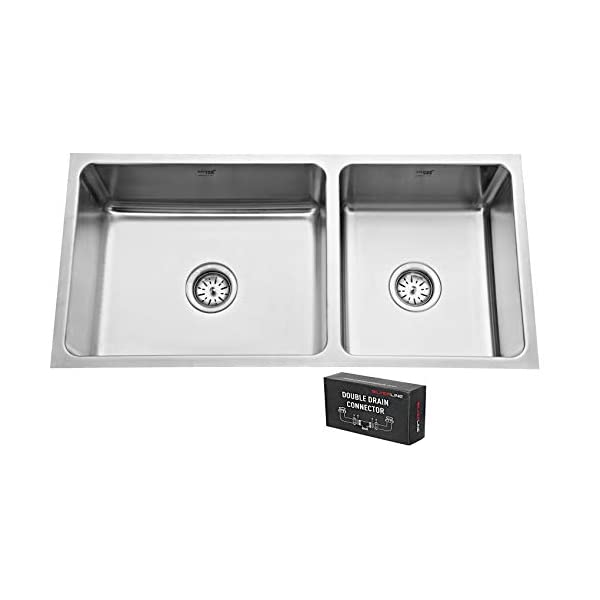 """SILVER LINE Low Radius Double Bowl Stainless Steel 304 Grade Kitchen Sink (37"""" x 18"""" x 8"""")"""