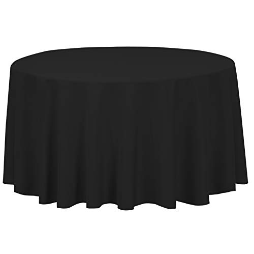 LinenTablecloth 120-Inch Round Polyester Tablecloth Black