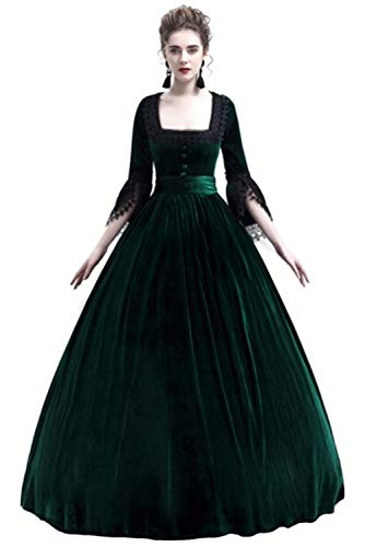 Newdong Womens Retro Irish Dress Victorian Renaissance Medieval Costume Maiden Cosplay Gown Green