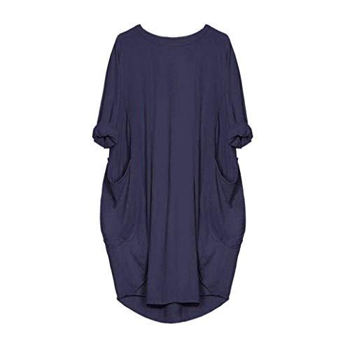 Abiti V Lunghe O Cadono 4 Unita A Donne Donna Sera Maniche Eleganti Con  Tinta 3 Casuale Marineblau Camicia Da Scollo ... e9dd128d349