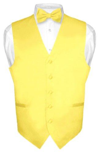Men's Dress Vest & BowTie Solid GOLDEN YELLOW Color Bow Tie Set XL