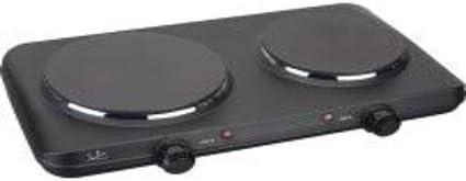 Jata CE220 Cocina Eléctrica 2 Fuegos Dos Placas de 15,7 y 18,7 cm 2 Termostatos Regulables de Temperatura 2250 W
