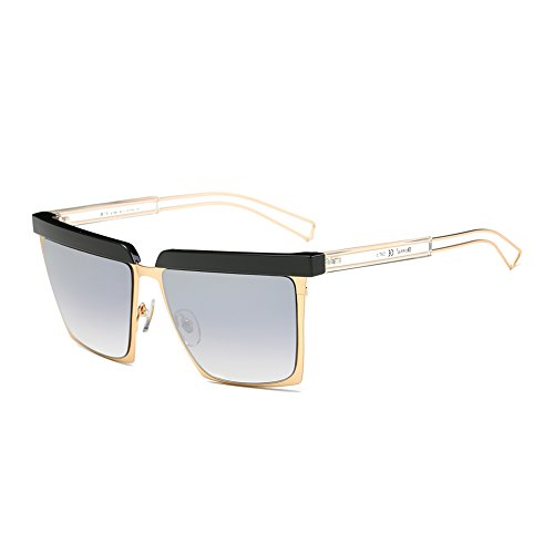 Cool Oversized Mirrored Flat Top Sunglasses Square Aviator Shades D79(Gradient Black/Gold - Black Shades Big