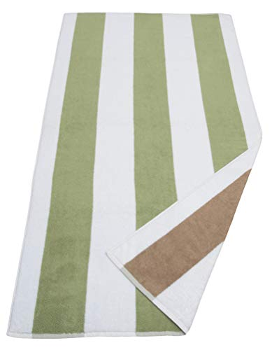 - Glamburg Luxurious 700GSM Reversible Cabana Stripe Beach Pool Bath Towel 30x60, 100% Cotton Oversize Large Beach Towels,Beach Blanket,Super Soft and Absorbent,Stripe Beach Towel Sea Green Linen White