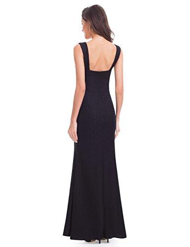 Abendkleid Pretty 07041 Ever Schwarz Lang Ärmelos glatt Elegant Partykleid Y7q1A