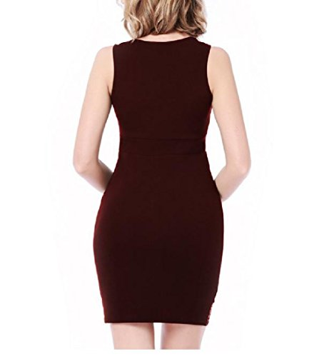 Wine Women Dress Sexy Round Sleeveless Neck Tunic Package Hip Red Coolred Patchwork gwRvw