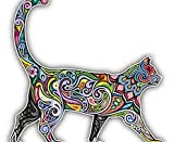 "Cheerful Cat Pattern Car Bumper Sticker Decal 5"" x 5"""