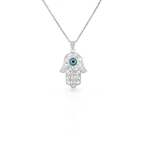 925 Sterling Silver Filigree Womens Blue Evil Eye Hamsa Pendant Necklace