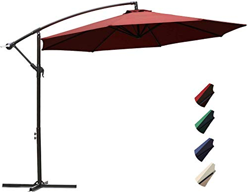 Project One 10ft Patio Offset Cantilever Umbrella Market Umbrellas Outdoor Umbrella with Crank & Cross Base for Garden, Deck,Backyard and Pool (Red)