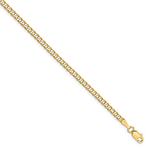 14k Yellow Gold 2.3mm Beveled Link Curb Chain Anklet Ankle Beach Bracelet 9 Inch : Fine Jewelry Gifts For Women For Her