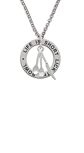 Silvertone Fork Knife and Spoon - Life Is Short Affirmation Ring Necklace (Spoon Jewelry Maker)