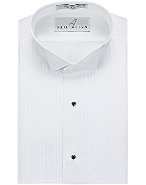 Slim Fit Tuxedo Shirt - 100% Cotton Wing Collar with French Cuffs