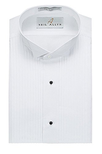 Neil Allyn Slim Fit Tuxedo Shirt - 100% Cotton Wing Collar with French Cuffs,White,Large (16) Neck 36/37 Sleeve