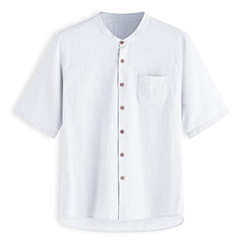 TUSANG Men Tees Baggy Solid Cotton Linen Short Sleeve Button Pocket T Shirts Tops Blouse Slim Fit Comfy Tunic(White,US-14/CN-3XL)