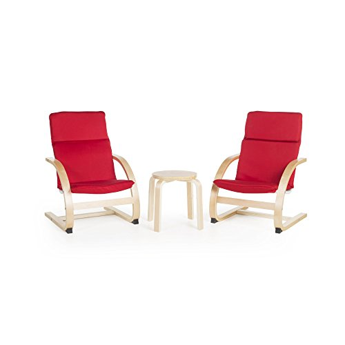 Guidecraft Kiddie Rocker Red Cushioned Chairs Set with Small Table for Kids : Toddlers Preschool Learning Furniture
