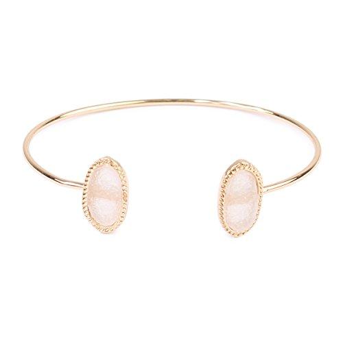 MYS Collection Riah Fashion Women's Oval Druzy Shape Cuff Bracelet (Beige)