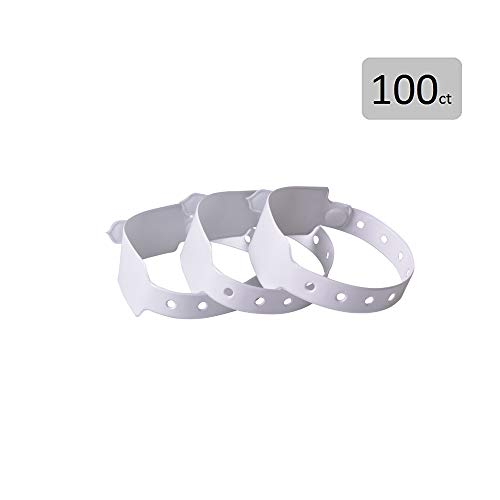 Id Bands Hospital - White Plastic Wristbands for Events - 100 Count Vinyl Wristbands Party Wide Face by Fivepeans
