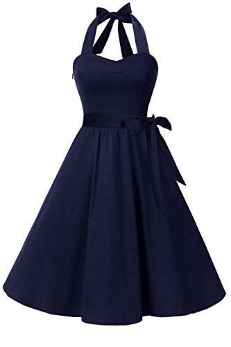Topdress Women'sVintage Polka Audrey Dress 1950s Halter Retro Cocktail Dress Navy Blue Medium New (Navy Retro Dress)