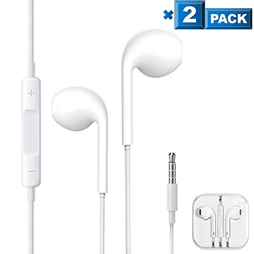 2 Pack Aux Headphones/Earphones/Earbuds 3.5mm Wired Headphones Noise Isolating Earphones with Built-in Microphone & Volume Control