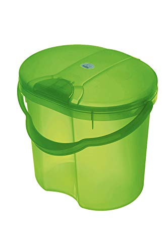 Rotho Babydesign TOP Nappy Bin, with Lid, 11L, from 0 Months, TOP, Translucent Lime (Green), 200020258