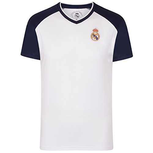 Fc Training Kit (Real Madrid FC Official Gift Mens Poly Training Kit T-Shirt White V Neck Large)