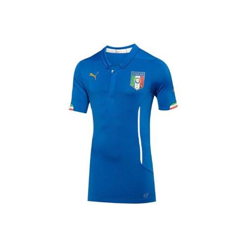 ティーンエイジャーのホスト多年生Puma Italy Authentic Home Shirt ACTV World Cup 2014 Blue/サッカーユニフォーム イタリア代表 オーセンティック ホーム用 半そで ACTV ワールドカップ2014
