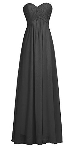 Vantexi Women's Long Pleated Chiffon Evening Bridesmaid Dress Black 0
