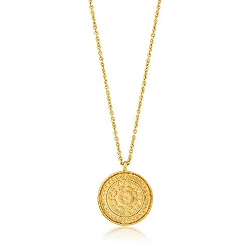 (925 Sterling Silver Long Byzantine Roman Sun Coin Statement Necklace for Women, Yellow Gold Plated)