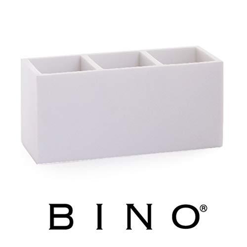 BINO Multi Purpose 3 Compartment Organizer - Makeup Brush Holder Makeup Brush Organizer Holder Makeup Holder Organizer Toothbrush Holder Marble Bathroom Accessories