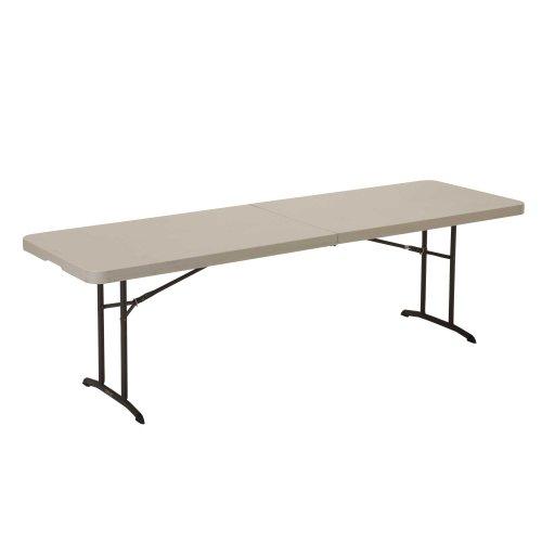 Lifetime 80175 Fold In Half Banquet Table, 8 Feet, Almond