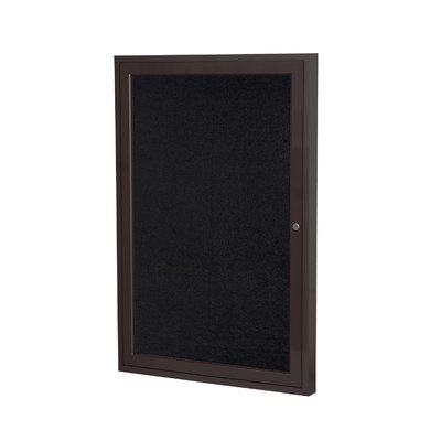 Ghent PB13630TR-CF 36 in. x 30 in. 1-Door Bronze Aluminum Frame Enclosed Recycled Rubber TackBoard - Confetti