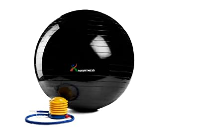 Max Fitness 75cm Exercise Ball with Foot Pump (Black) by Max Fitness